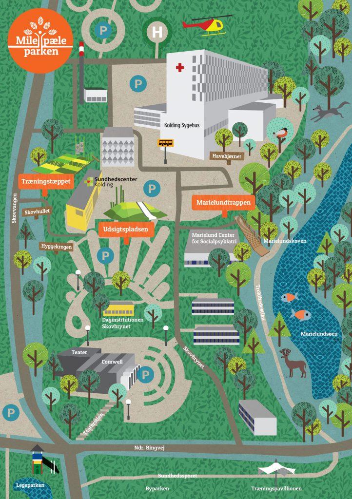 Milepæleparken lille kort m logo